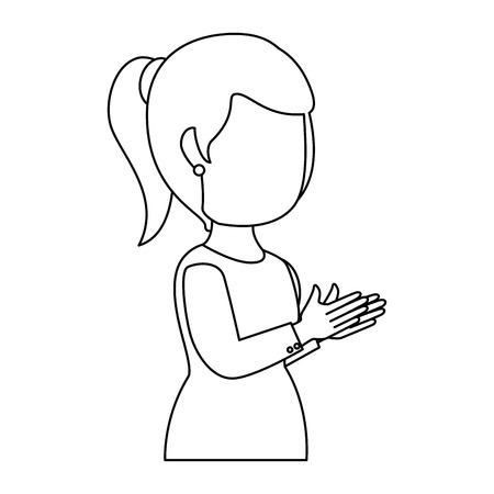 woman applauding avatar character vector illustration design 일러스트