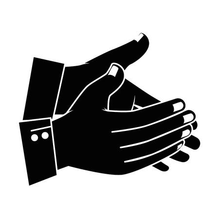 Manos aplaudiendo diseño de ilustración de vector de icono aislado Foto de archivo - 90474417