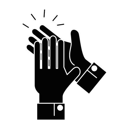 Manos aplaudiendo diseño de ilustración de vector de icono aislado Foto de archivo - 90474321