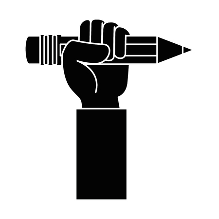hand with pencil icon vector illustration design