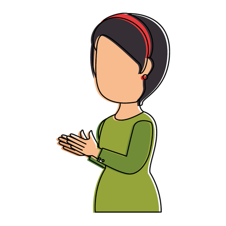 woman applauding avatar character vector illustration design 向量圖像