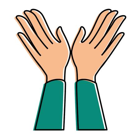 Manos aplaudiendo icono aislado diseño de ilustración vectorial