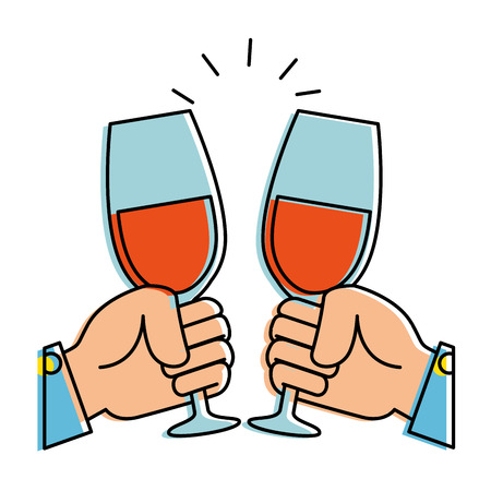 hands toasting with wine glasses vector illustration design Illustration