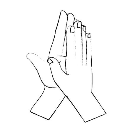 Manos aplaudiendo diseño de ilustración de vector de icono aislado Foto de archivo - 90472460