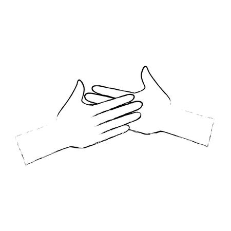 hands giving the five vector illustration design