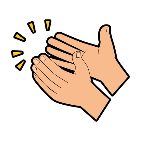 mani che applaudono progettazione dell'illustrazione di vettore dell'icona isolata Vettoriali