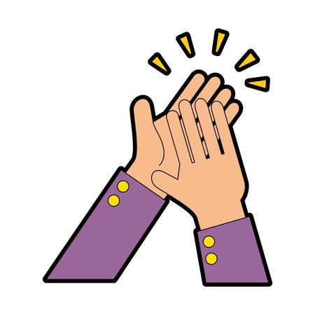 manos aplaudiendo diseño de ilustración de vector de icono aislado