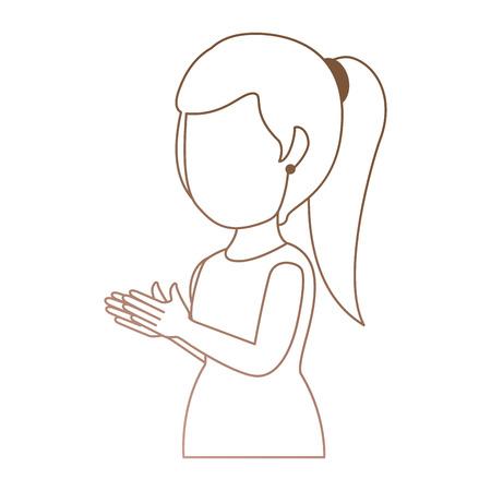 woman applauding avatar character vector illustration design Иллюстрация