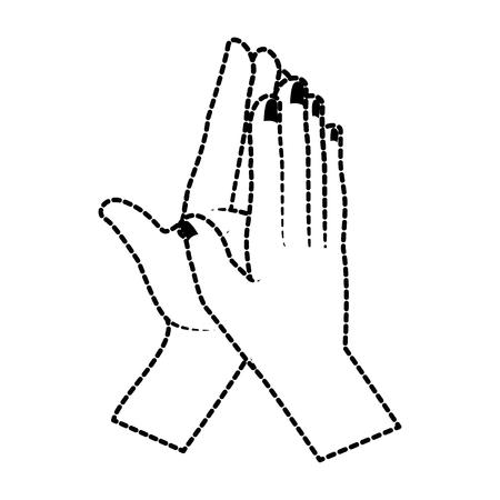 Manos aplaudiendo diseño de ilustración de vector de icono aislado Foto de archivo - 90474015
