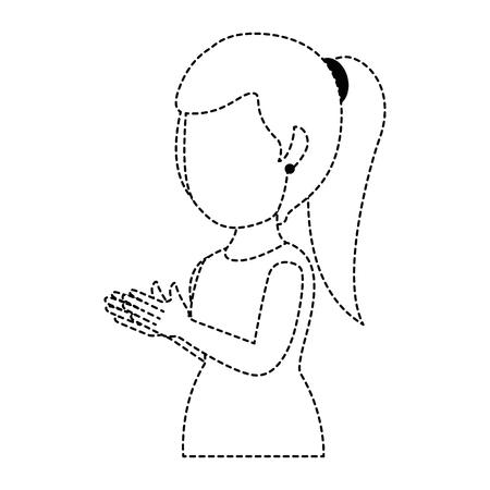 vrouw applaudisseren avatar karakter vector illustratie ontwerp
