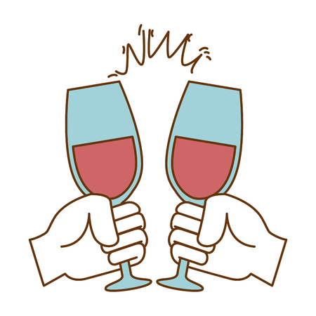 hands toasting with wine glasses vector illustration design 일러스트