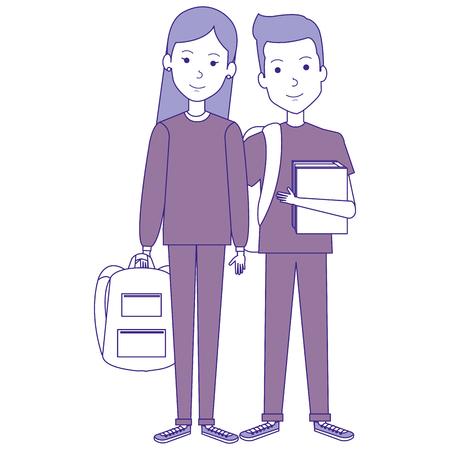 students couple avatars characters vector illustration design