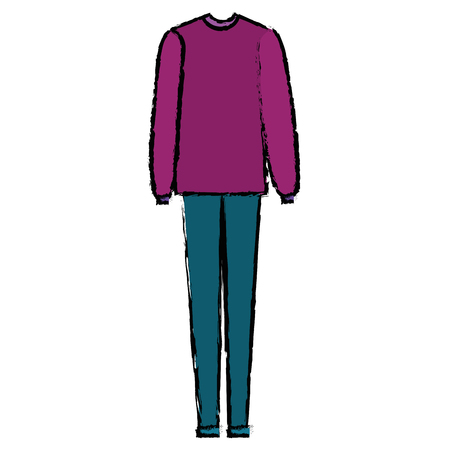 casual feminine dress with sweater vector illustration design