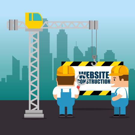 website under construction background with workers vector illustration graphic design Ilustração