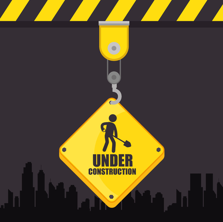 under construction sign vector illustration graphic design