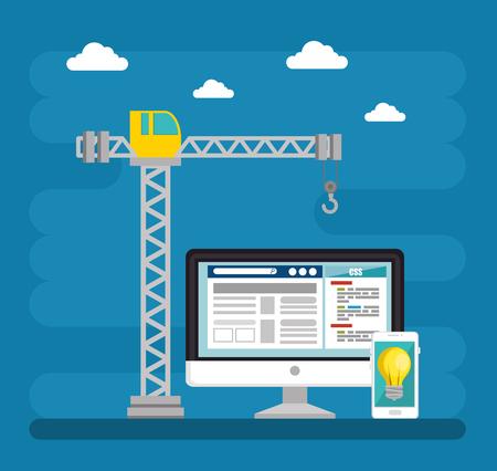 Website im Bau Hintergrund Vektor-Illustration Grafik-Design Standard-Bild - 90474475