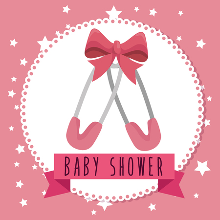 Baby shower greeting card with a baby girl clothes vector baby shower greeting card with a baby girl clothes vector illustration graphic design stock vector m4hsunfo