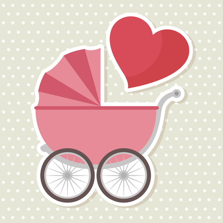 baby shower greeting card with a pink carriage vector illustration graphic design Illustration