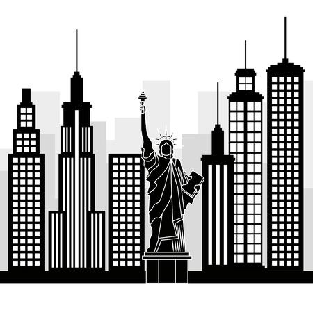 ニューヨーク市自由の像シーンベクトルイラストデザイン