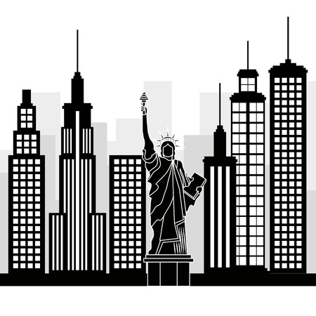 new york city statue of Liberty scene vector illustration design