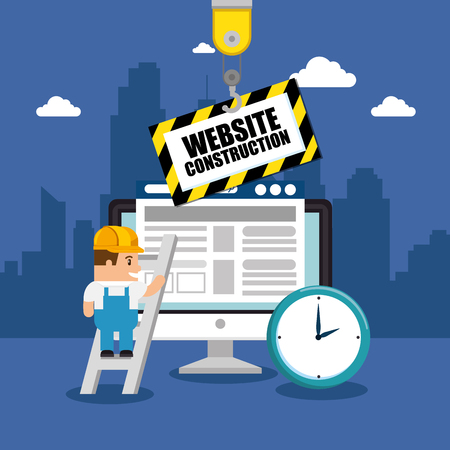 website under construction background with workers vector illustration graphic design Ilustração