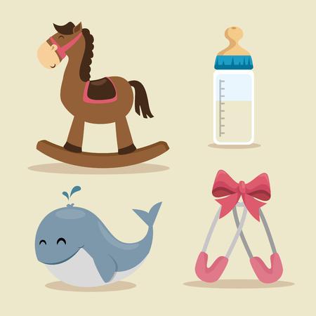 cute baby shower elements vector illustration graphic design Illustration