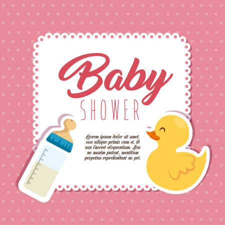 baby shower invitation card vector illustration graphic design Vettoriali