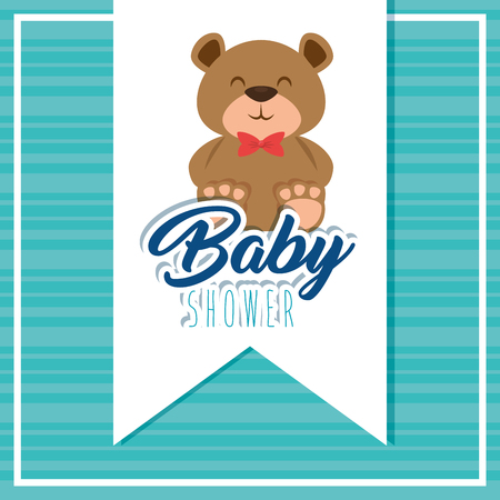 baby shower greeting card with teddy bear vector illustration graphic design