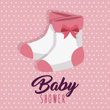 baby shower greeting card with a baby girl clothes vector illustration graphic design Illustration