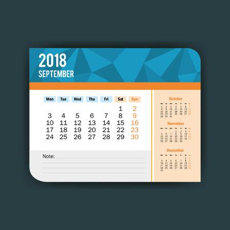 september calendar isolated icon vector illustration design