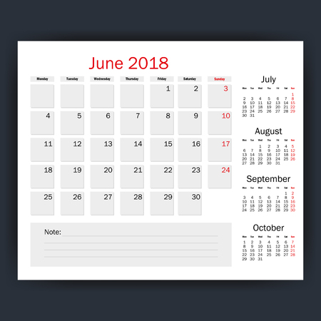 june calendar isolated icon vector illustration design Stock Vector - 90474540
