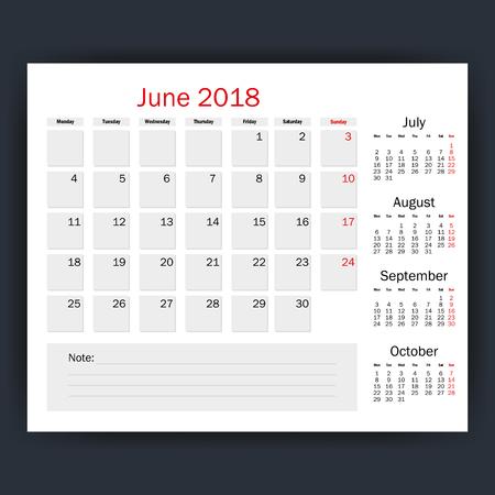 juni kalender geïsoleerd pictogram vector illustratie ontwerp Stock Illustratie