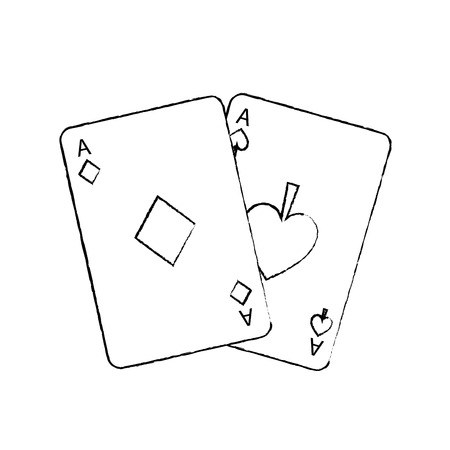 two aces playing cards poker casino icon vector illustration 일러스트