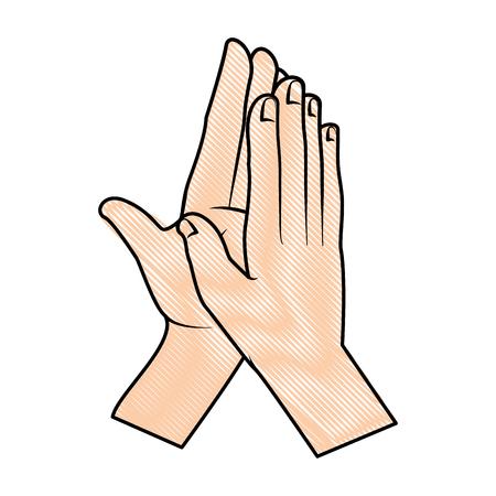 Manos aplaudiendo icono aislado diseño de ilustración vectorial Ilustración de vector