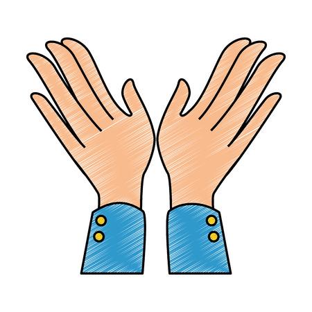 Manos aplaudiendo diseño de ilustración de vector de icono aislado Foto de archivo - 90507758