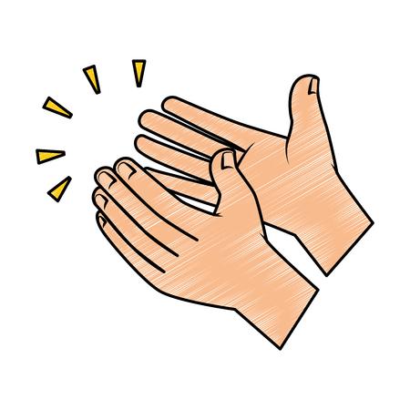 Handen die het geïsoleerde ontwerp van de pictogram vectorillustratie toejuichen. Stock Illustratie