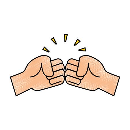 Fists crashing isolated icon vector illustration design. Illustration