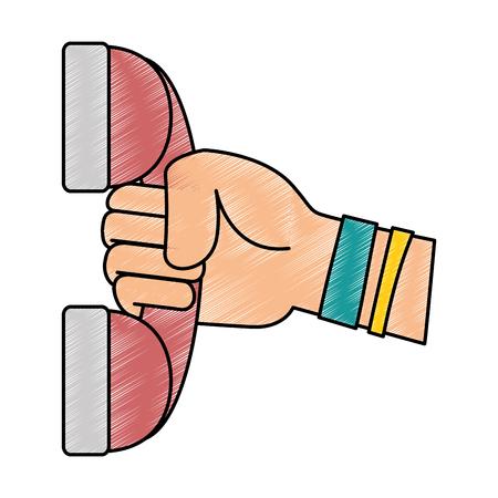 main avec le téléphone icône vector illustration design Vecteurs