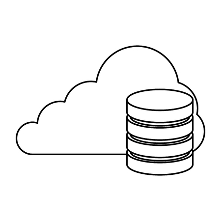 cloud with data disk vector illustration design