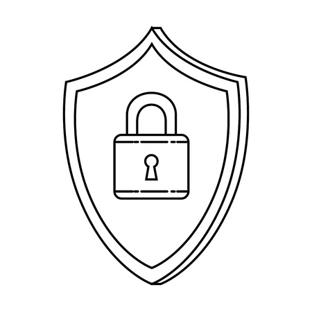 shield with padlock security vector illustration design