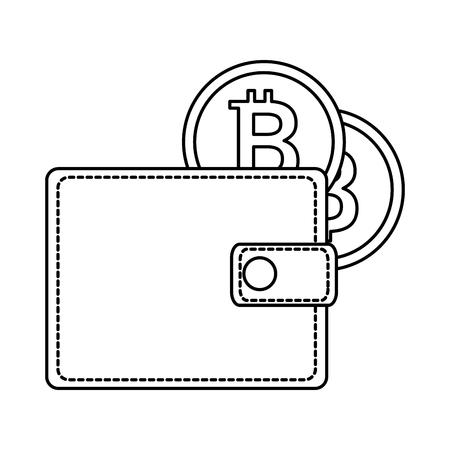 portemonnee met bitcoin geïsoleerd pictogram vector illustratie ontwerp Stock Illustratie