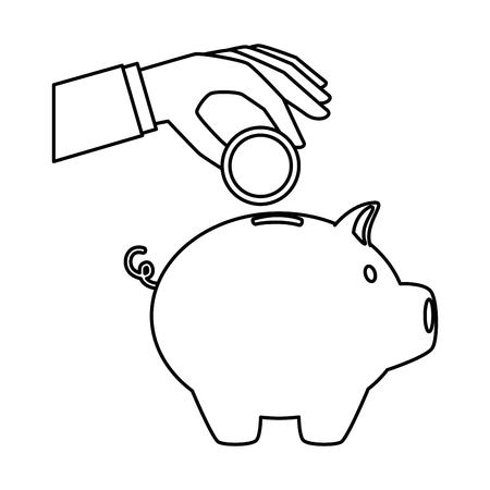 ピギー貯蓄とコインベクトルイラストデザインとハンドセーバー