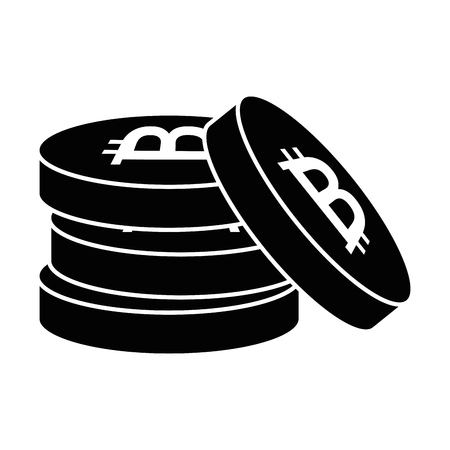 pile bitcoins isolated icon vector illustration design Reklamní fotografie - 90512421