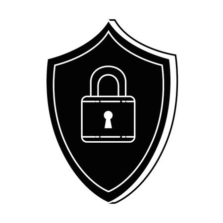 자물쇠 보안 벡터 일러스트 디자인 방패