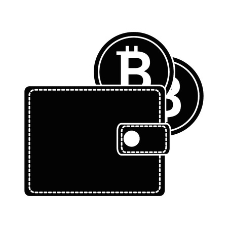 wallet with bitcoin isolated icon vector illustration design