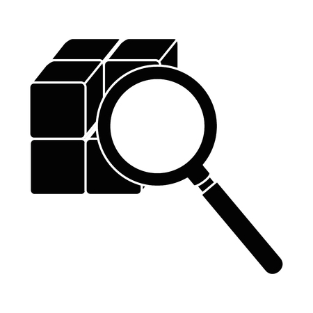 cube with blocks with magnifying glass vector illustration design