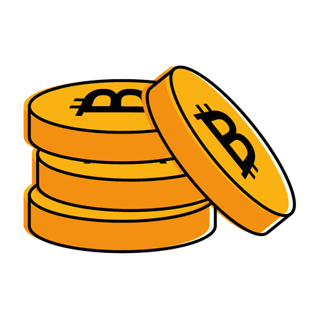 pile bitcoins isolated icon vector illustration design