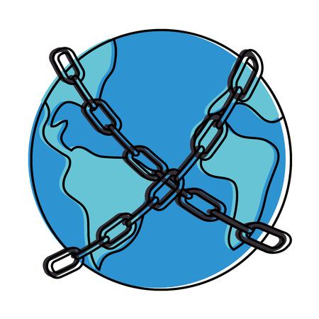 세계 행성 지구 체인 벡터 일러스트 디자인