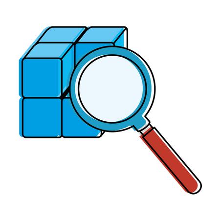 虫眼鏡ベクトル イラスト デザインのブロックとキューブ