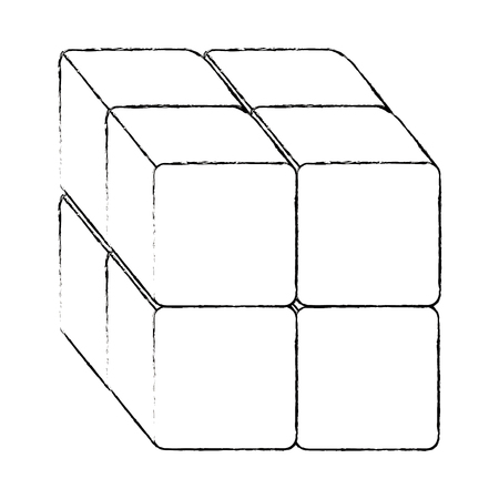 cube with blocks icon vector illustration design
